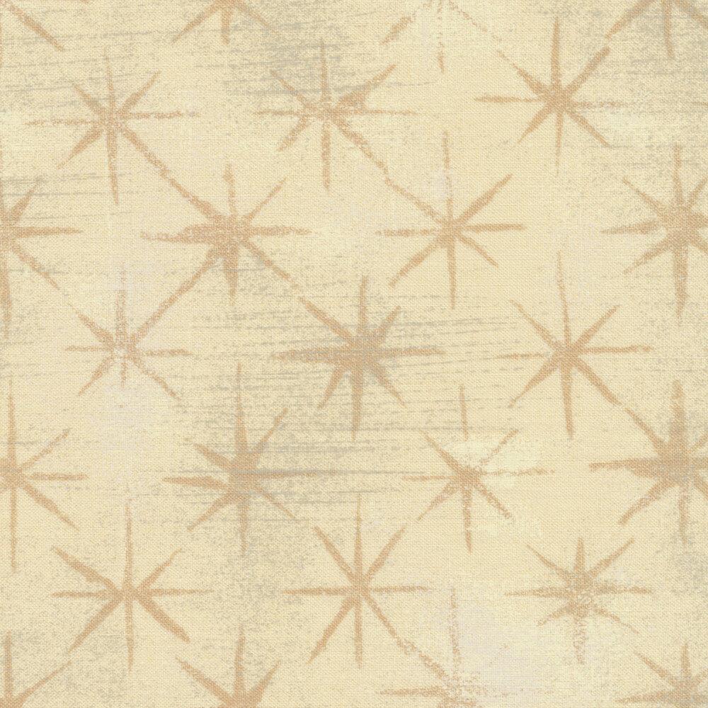 Tonal grunge textured cream fabric with dark cream stars | Shabby Fabrics