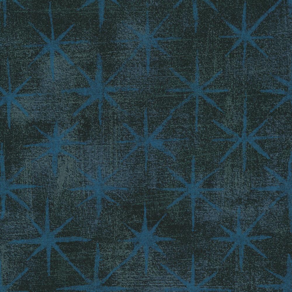 Dark navy fabric with blue stars on grunge textured background   Shabby Fabrics