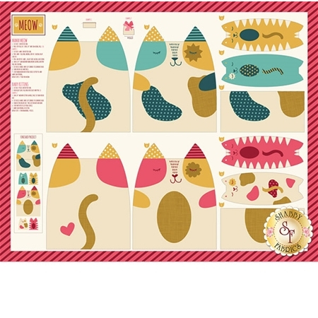 Woof Woof Meow 20561-11 Cat Panel Multi by Stacy Iset Hsu for Moda Fabrics