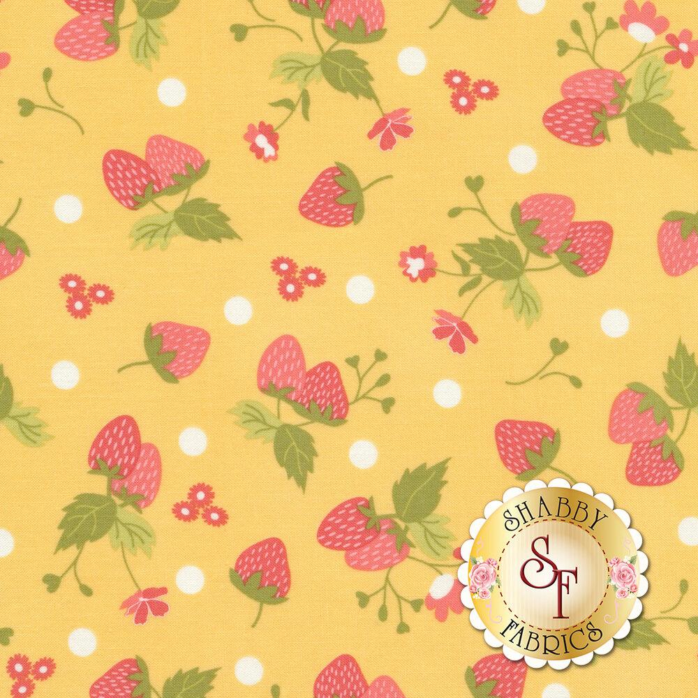 Strawberry Jam 29062-12 Polka Dot Yellow by Moda Fabrics available at Shabby Fabrics