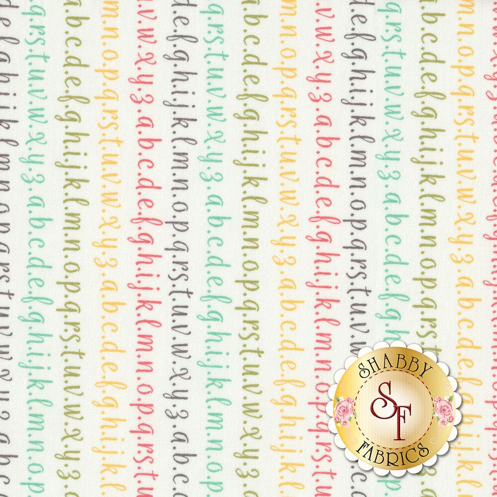 Strawberry Jam 29065-11 Alphabet Multi by Moda Fabrics available at Shabby Fabrics