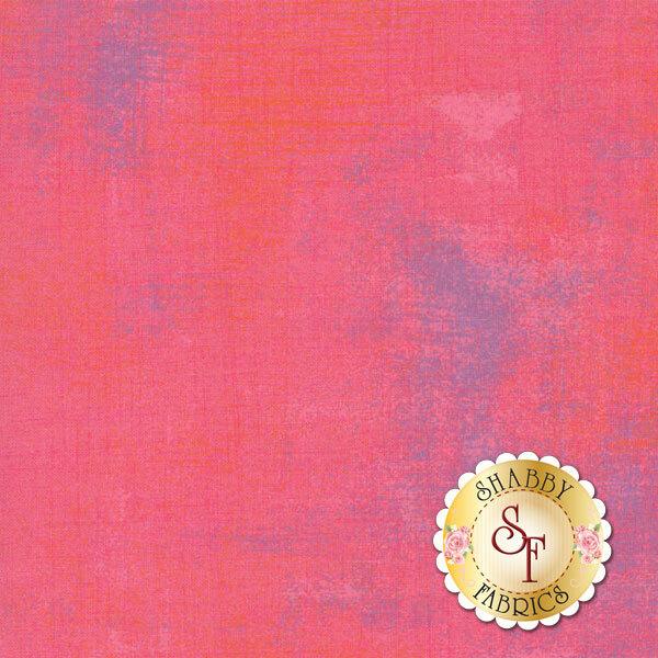 Bright coral grunge textured fabric   Shabby Fabrics