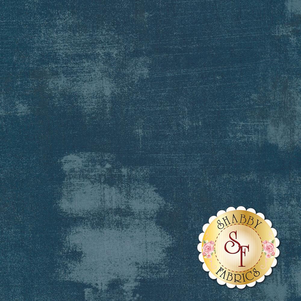 Dark navy grunge textured fabric | Shabby Fabrics