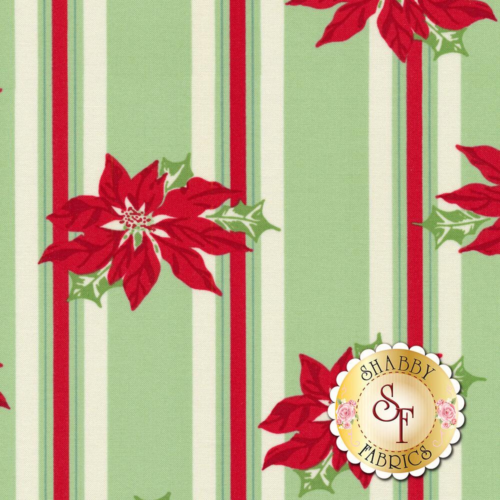 Sweet Christmas 31150-14 Poinsettia Stripe Marzipan by Urban Chiks for Moda Fabrics