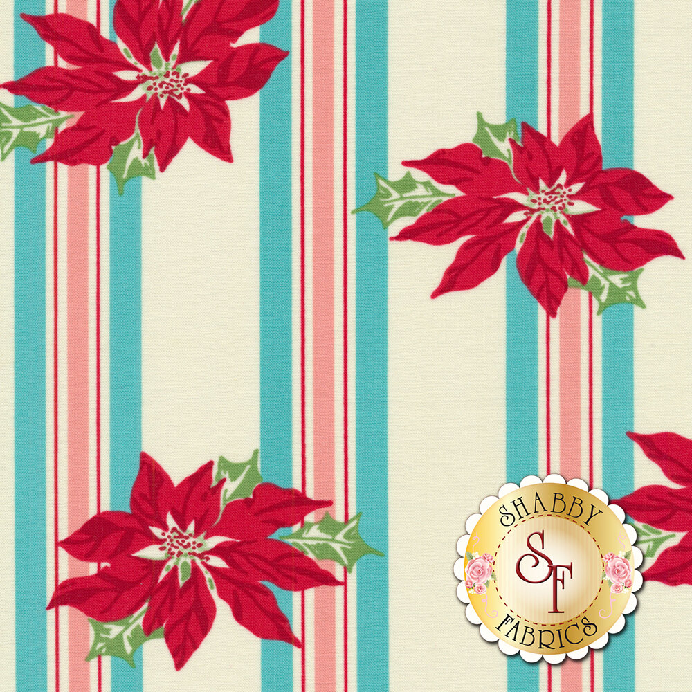 Sweet Christmas 31150-21 Poinsettia Stripe Coolmint by Urban Chiks for Moda Fabrics
