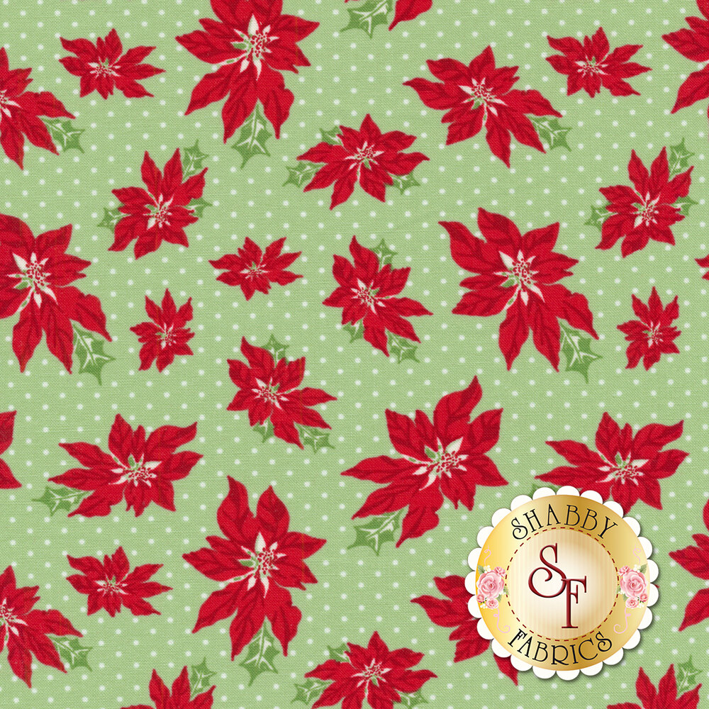 Sweet Christmas 31151-14 Poinsettia Spearmint by Urban Chiks for Moda Fabrics