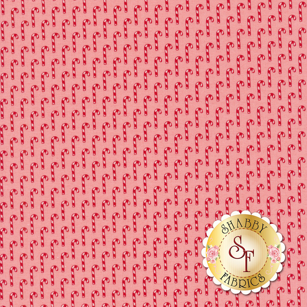 Small candy canes all over pink | Shabby Fabrics