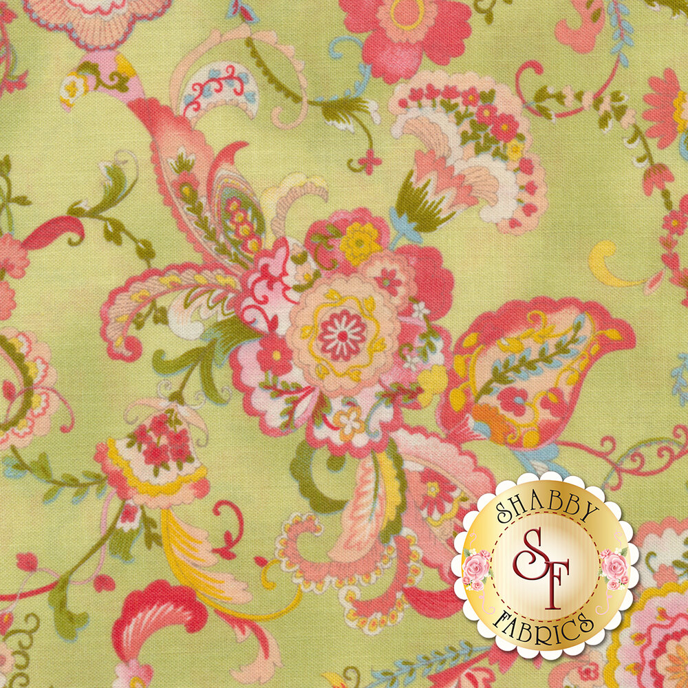 Coco 33390-14 Floral Light Green from Moda Fabrics by Chez Moi