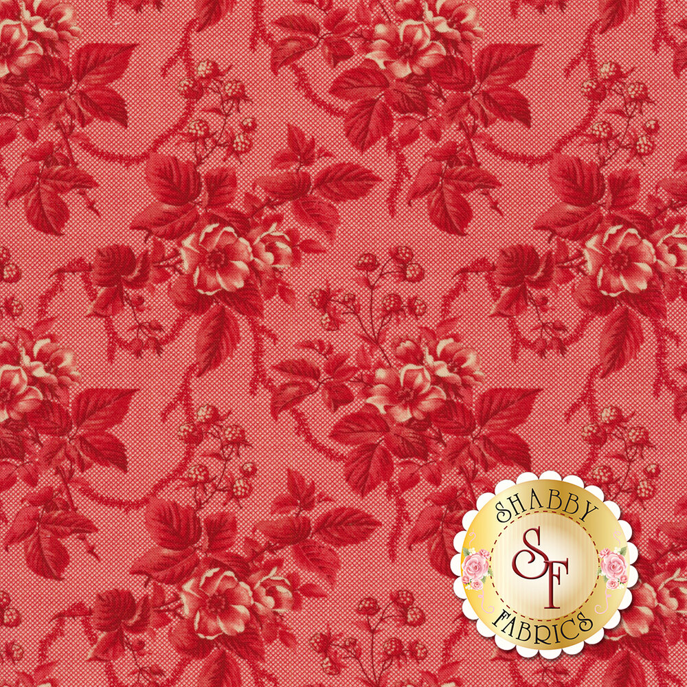 An elegant red on red floral print | Shabby Fabrics