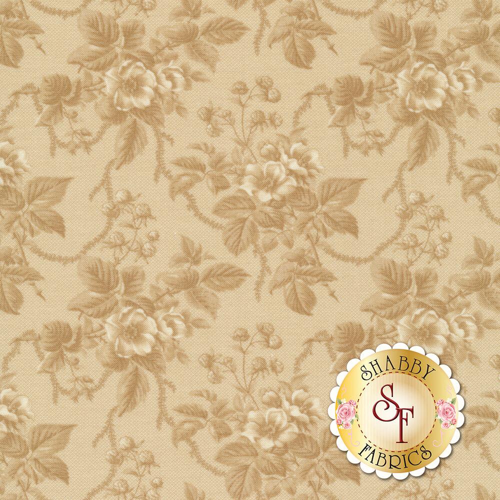 A beautiful tan on tan floral fabric | Shabby Fabrics