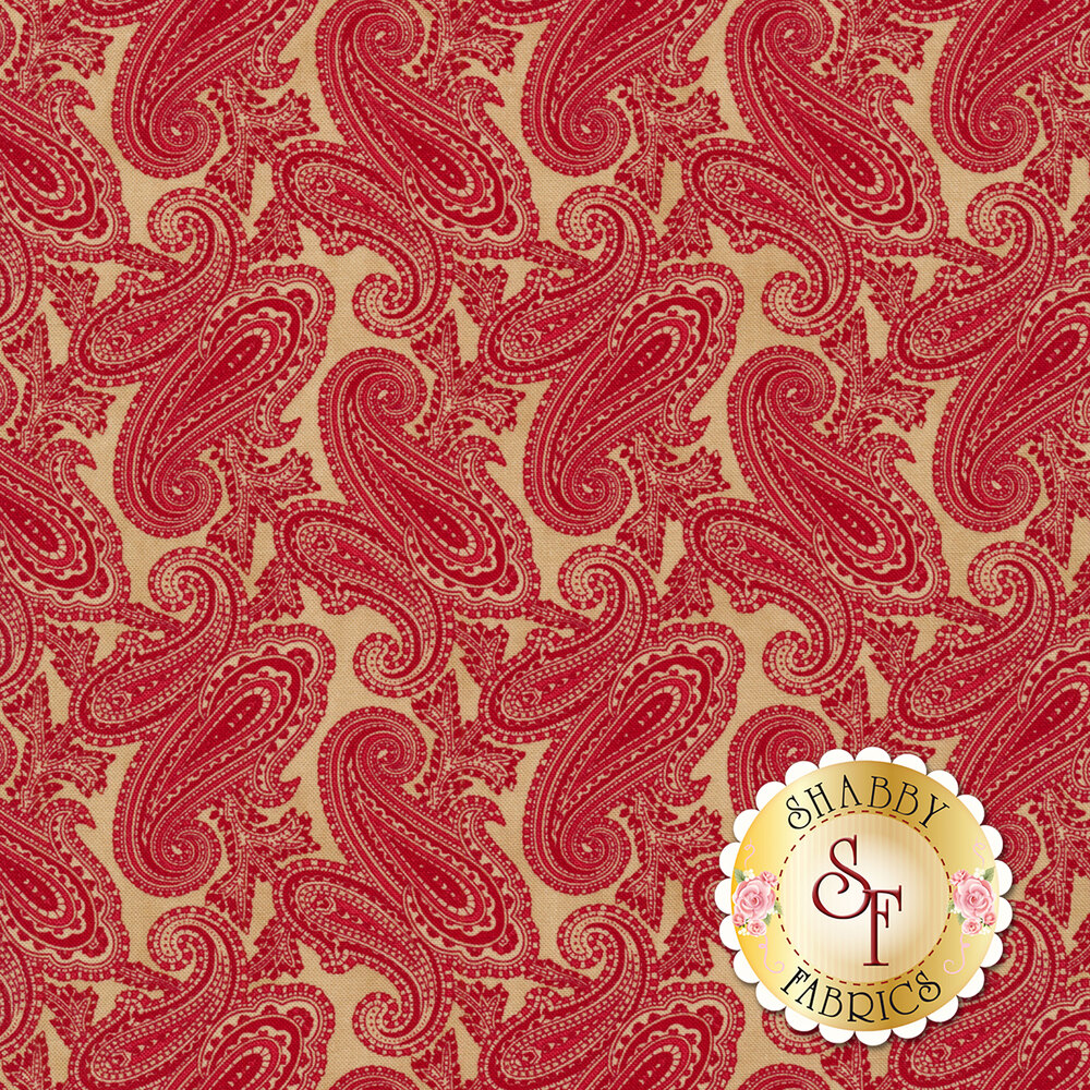 Stunning red paisleys on a tan background | Shabby Fabrics