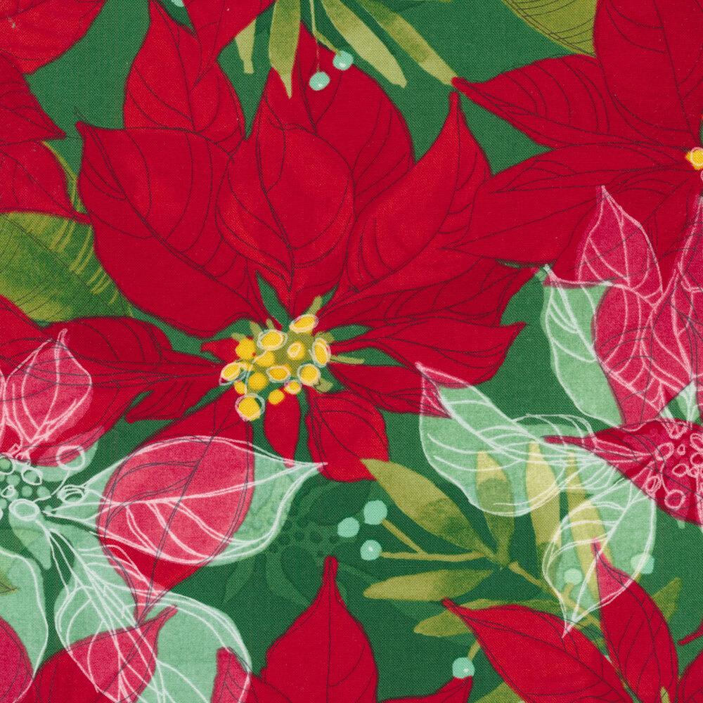 Large beautiful poinsettias on a green background | Shabby Fabrics