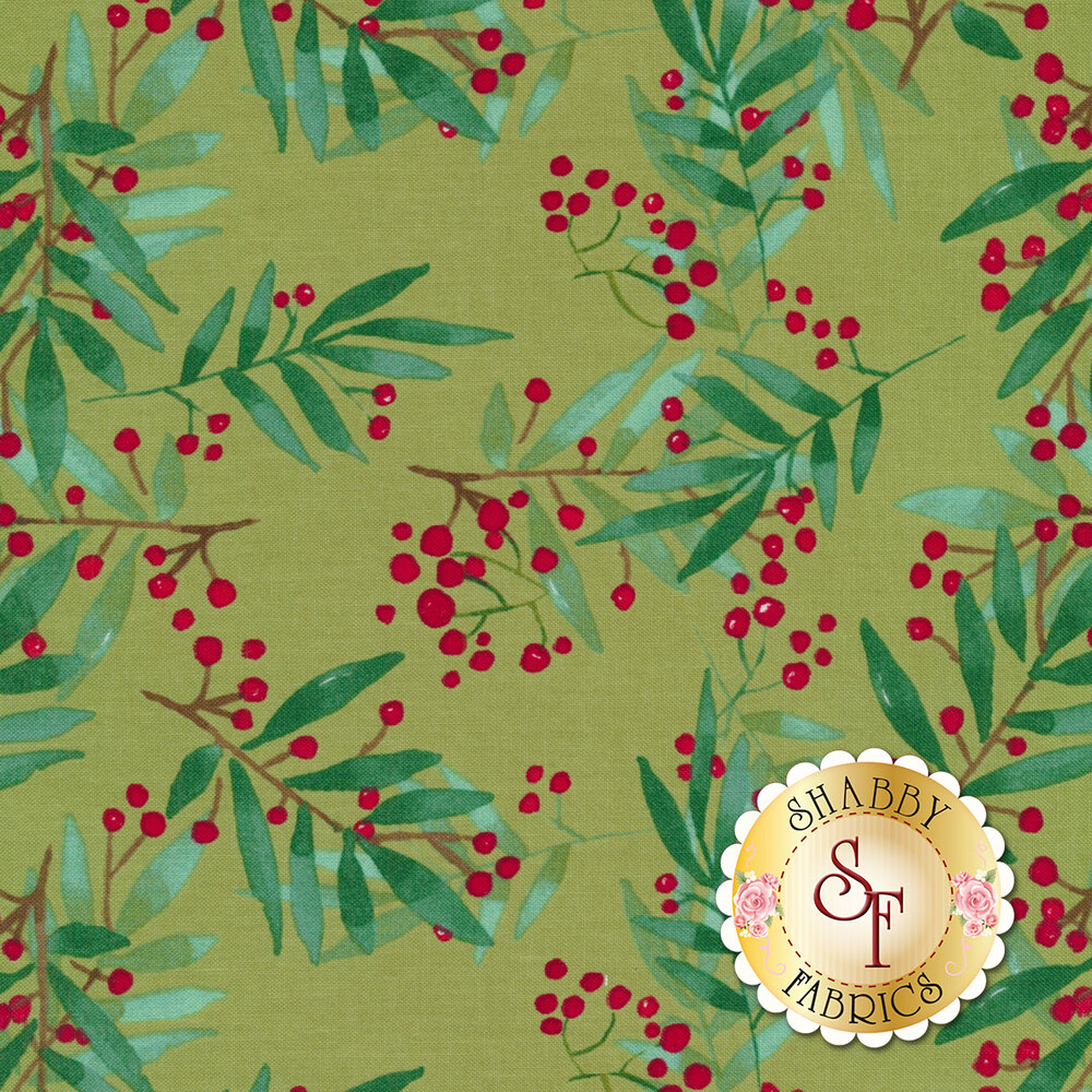 Green and red mistle toe on a Christmas green background | Shabby Fabrics