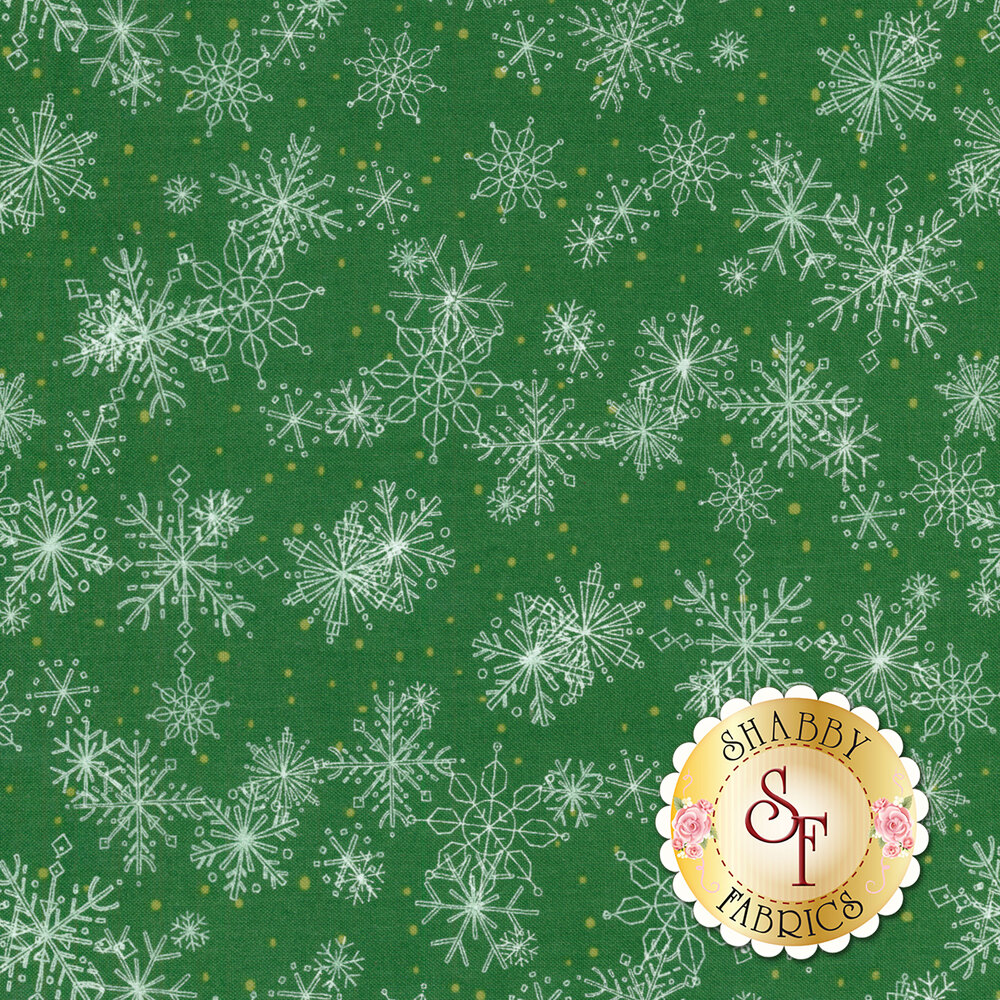Dark green fabric with white snowflakes | Shabby Fabrics