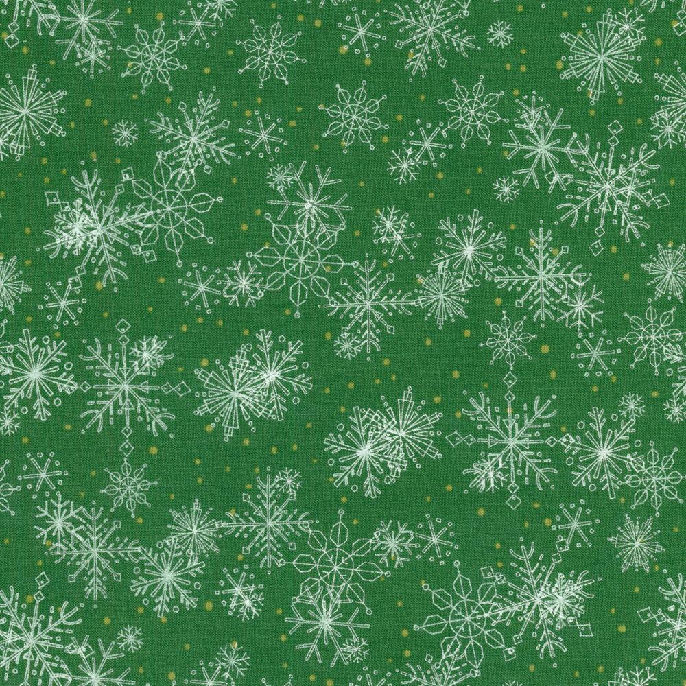 Dark green fabric with white snowflakes | Shabby Fabrics
