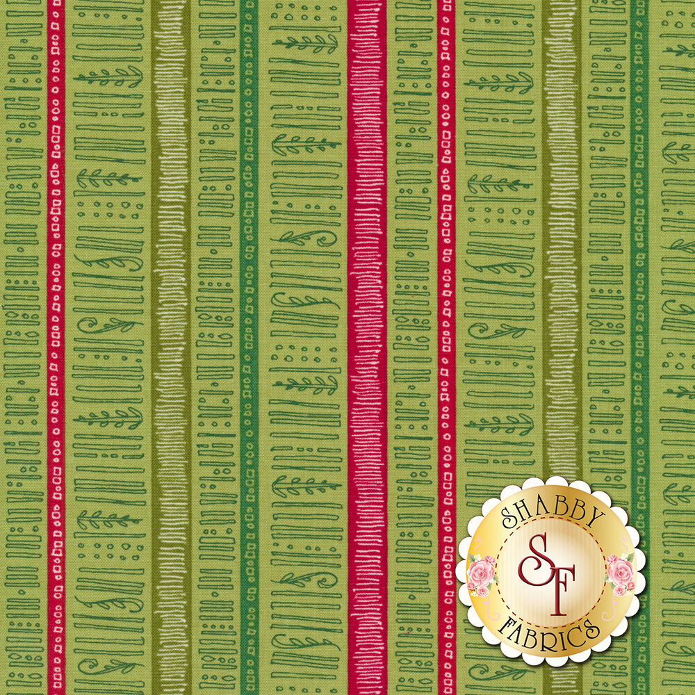 Red and green Christmas stripes with hand drawn leaves, trees, and lines | Shabby Fabrics