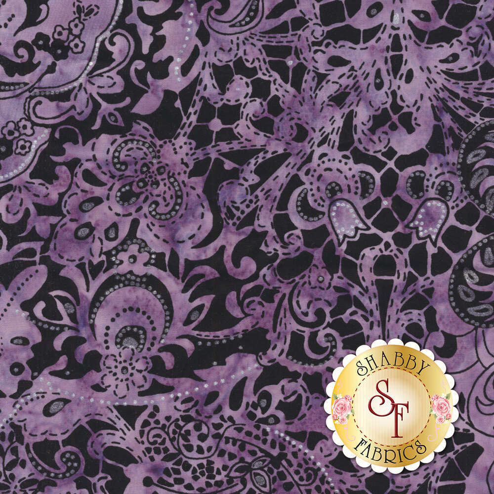 Violet mottled batik with paisley and floral designs on black | Shabby Fabrics