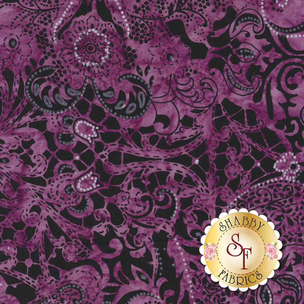 Purple mottled batik with paisley and floral designs on black
