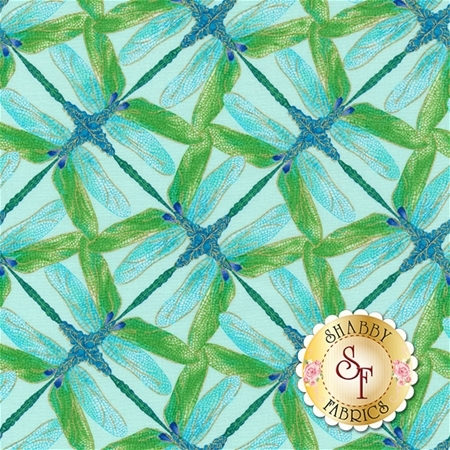 Dance Of The Dragonfly 8502M-84 Pinwheel Geo Aqua/Green by Kanvas Studio for Benartex Fabrics