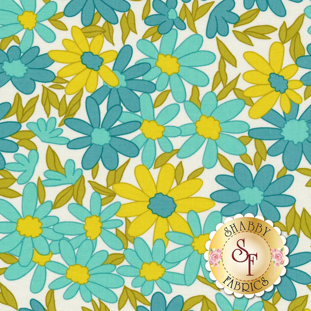 Aqua, blue, and yellow flowers all over white | Shabby Fabrics