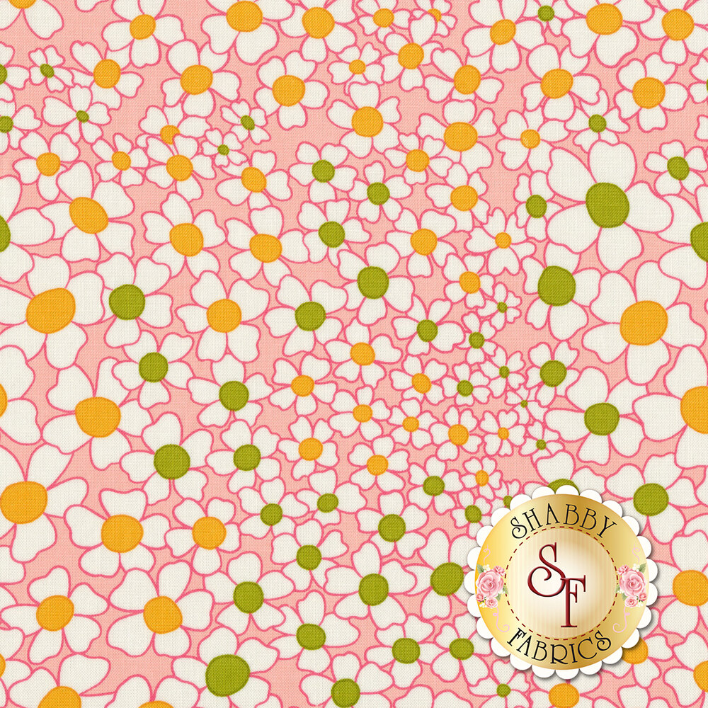 Flowers with green and orange centers on pink | Shabby Fabrics