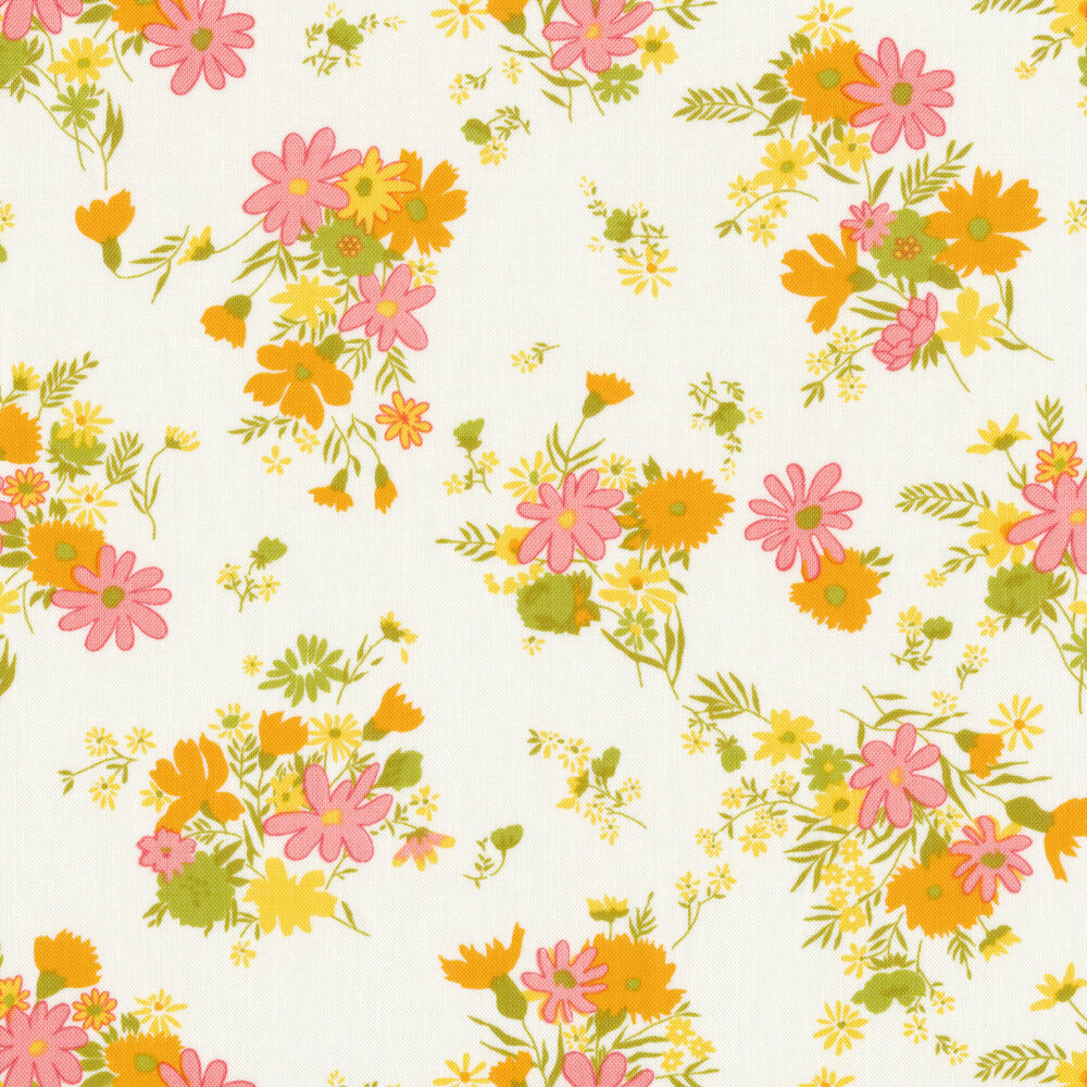 Clusters of orange and pink flowers on white | Shabby Fabrics