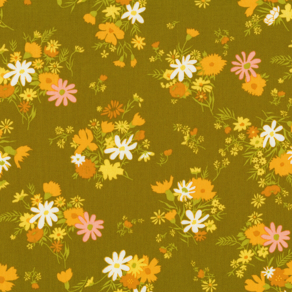 Clusters of orange, yellow, and pink flowers on green   Shabby Fabrics