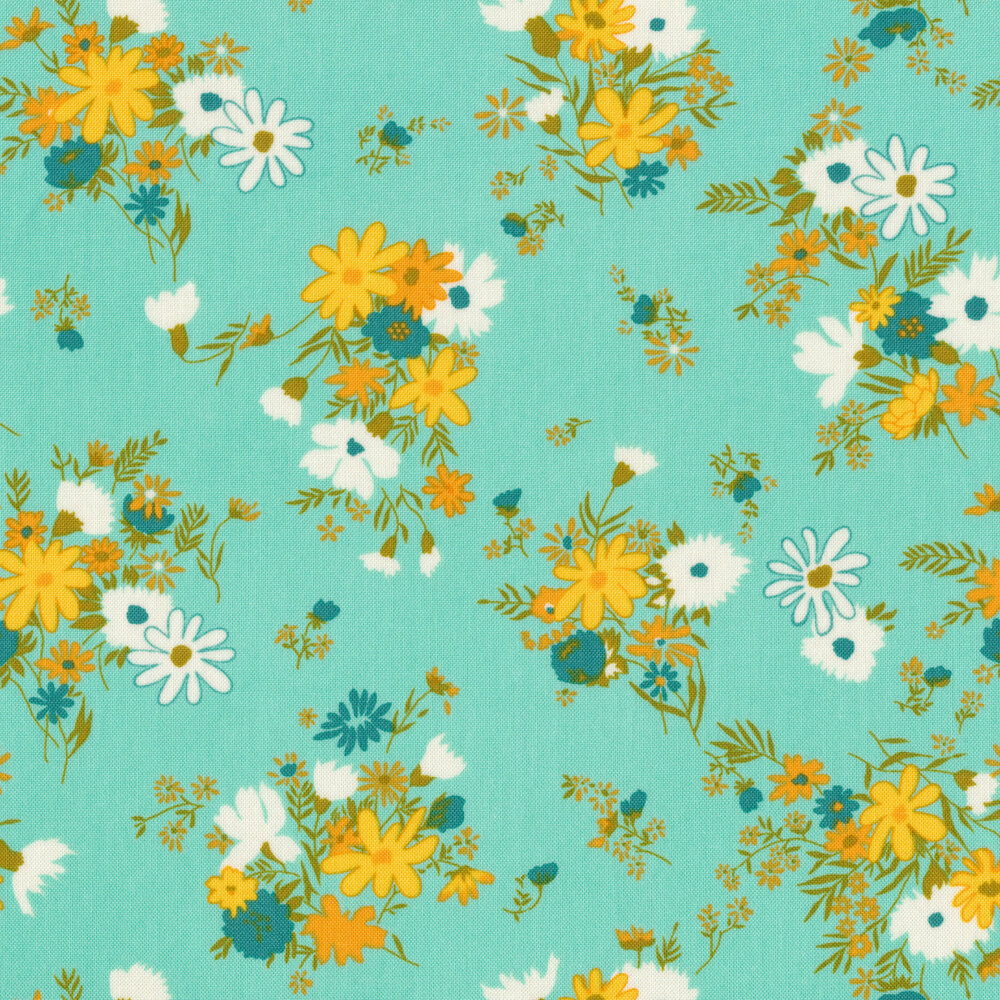 Clusters of blue, yellow, and white flowers on aqua | Shabby Fabrics
