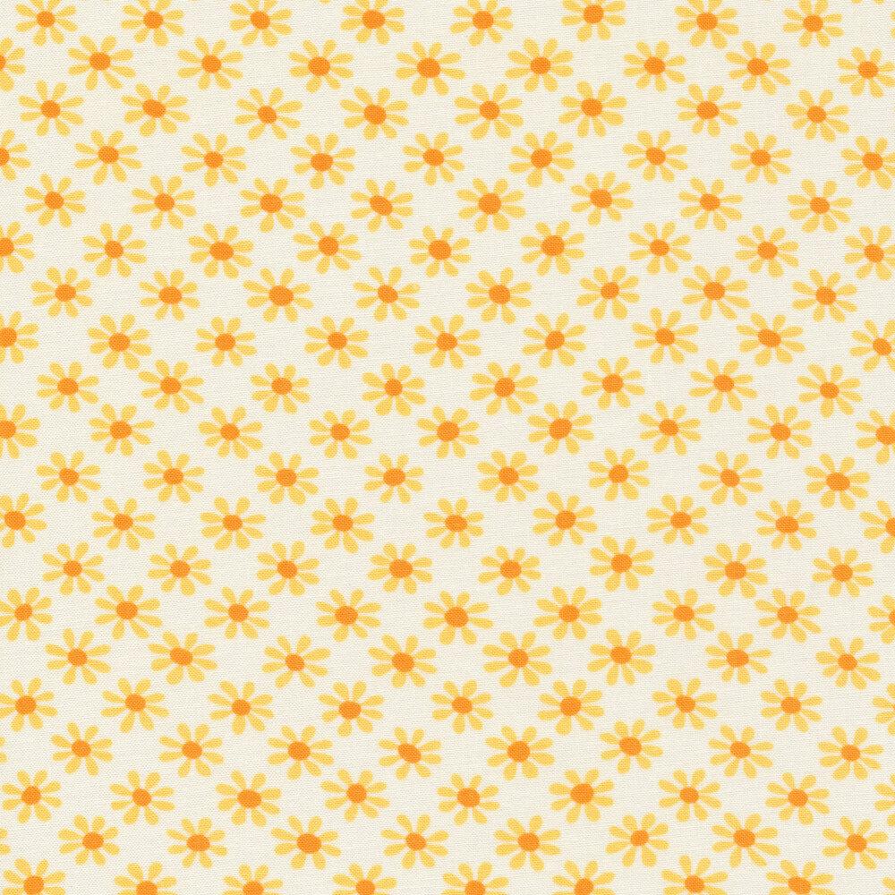 yellow daisy print on white   Shabby Fabrics