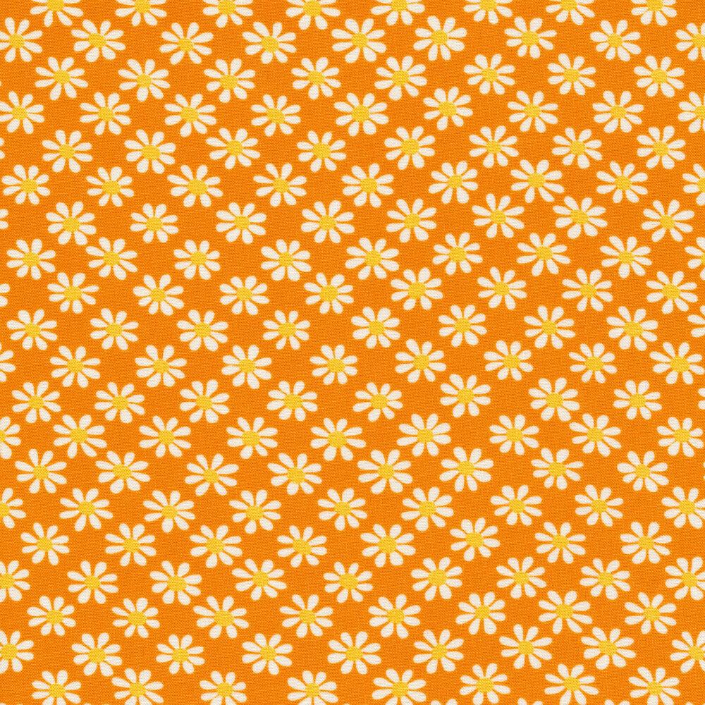White daisy print on orange | Shabby Fabrics