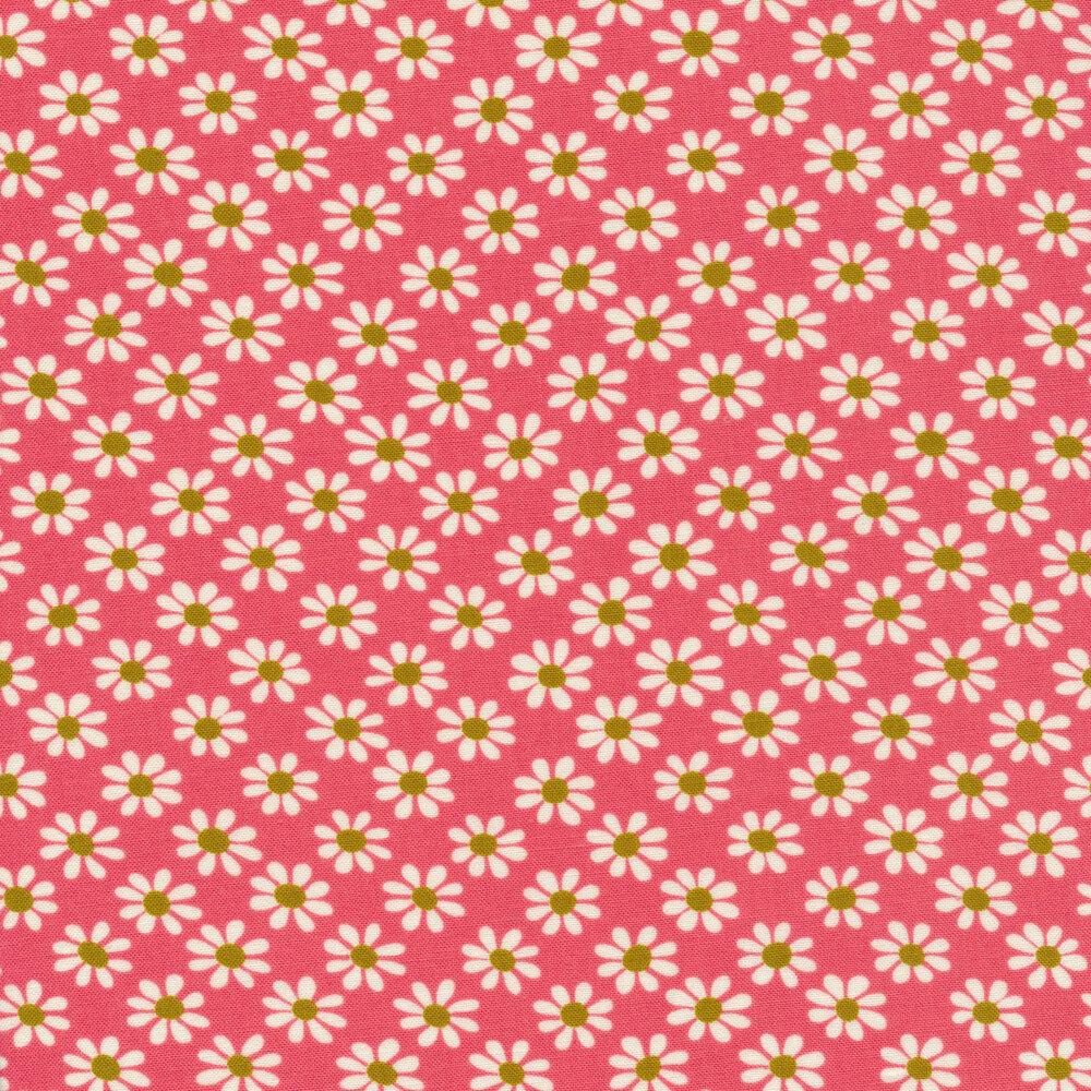 White daisy print on pink   Shabby Fabrics
