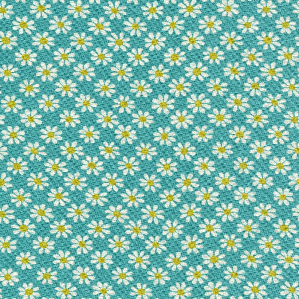 White daisy print on blue   Shabby Fabrics