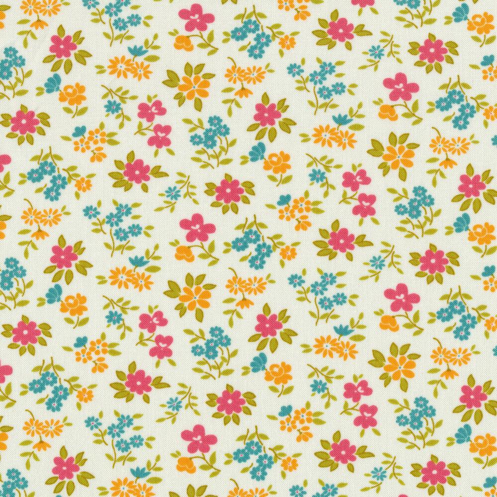 Tossed pink, orange, and blue flowers on white | Shabby Fabrics