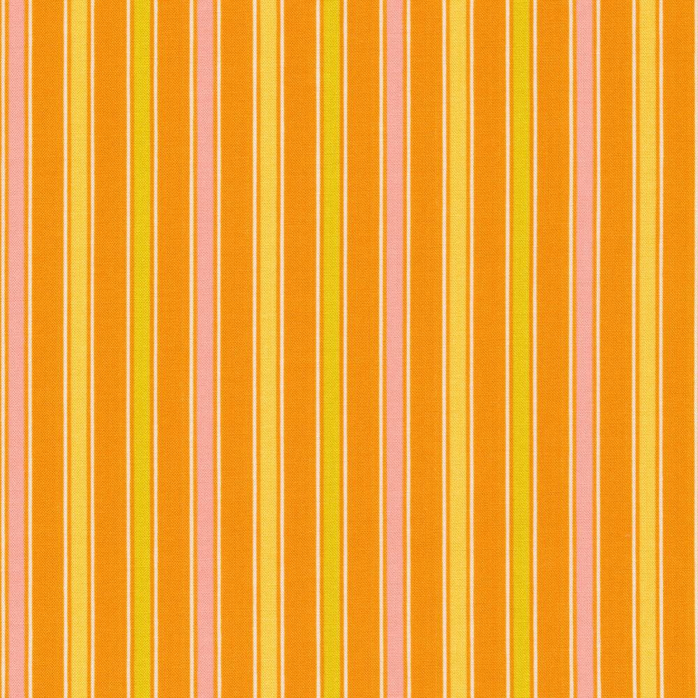 Pink, yellow, and green stripes on orange | Shabby Fabrics