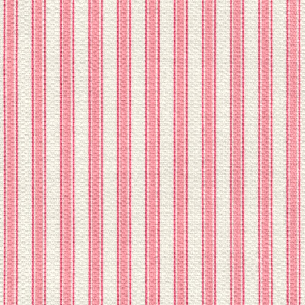 Pink stripes on cream | Shabby Fabrics