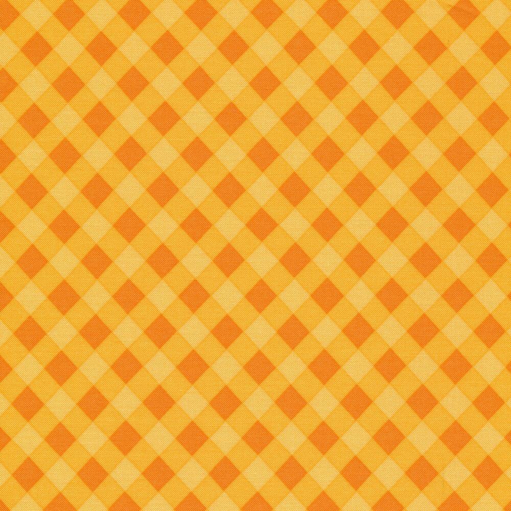 Orange gingham on yellow   Shabby Fabrics