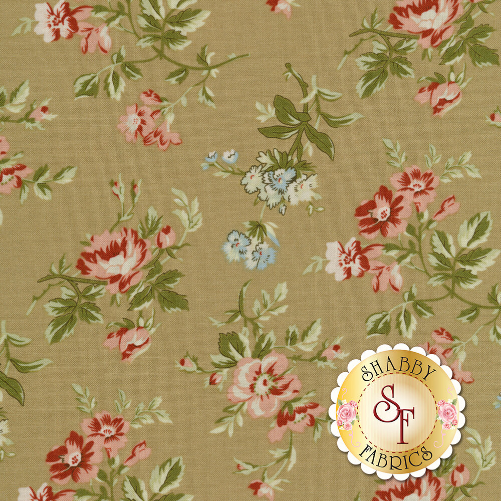 Elegant red and blue flowers on a beige background | Shabby Fabrics