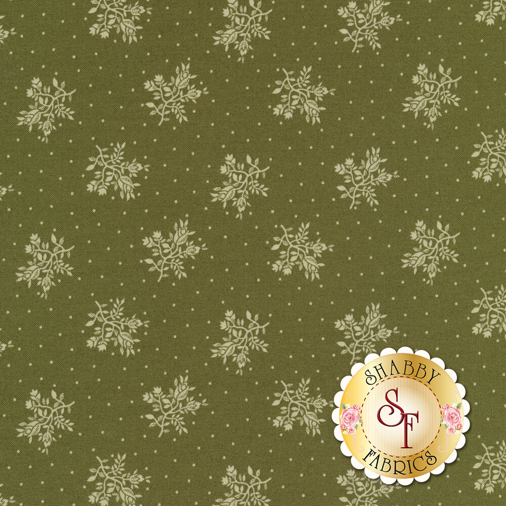 Tossed white flower bunches surrounded by small dots on a green background | Shabby Fabrics