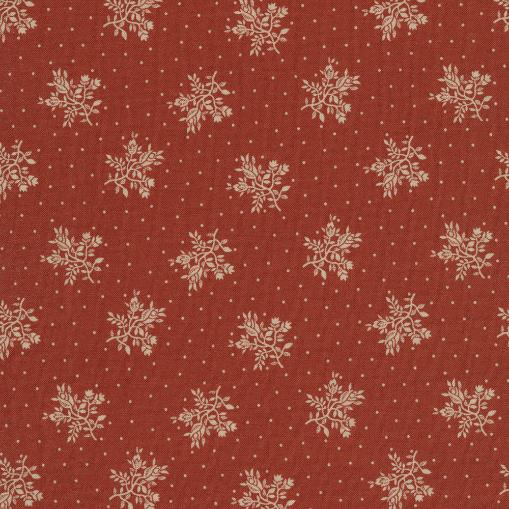 Tossed white flower bunches surrounded by small dots on a red background | Shabby Fabrics
