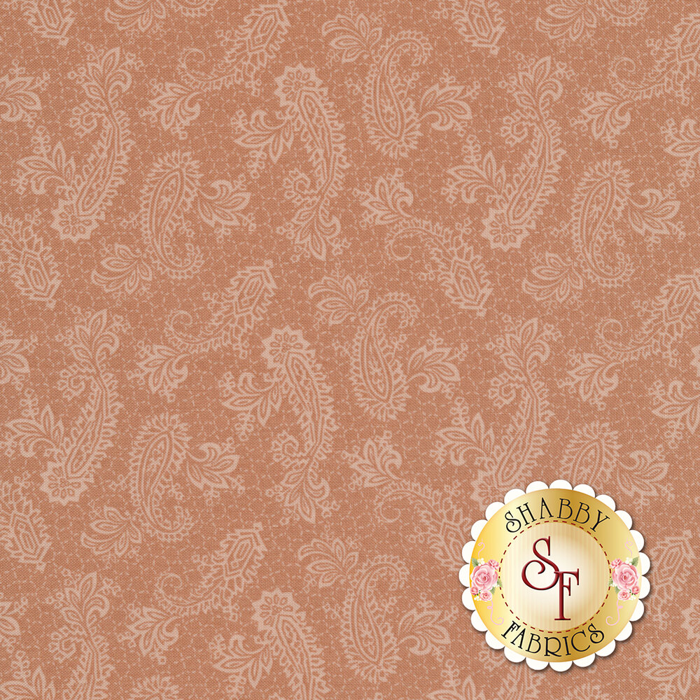 Elegant paisleys surrounded by dotted lines on a pink background | Shabby Fabrics