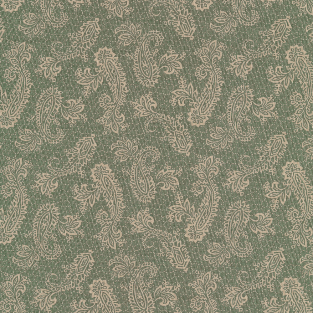 Elegant paisleys surrounded by dotted lines on a teal background | Shabby Fabrics