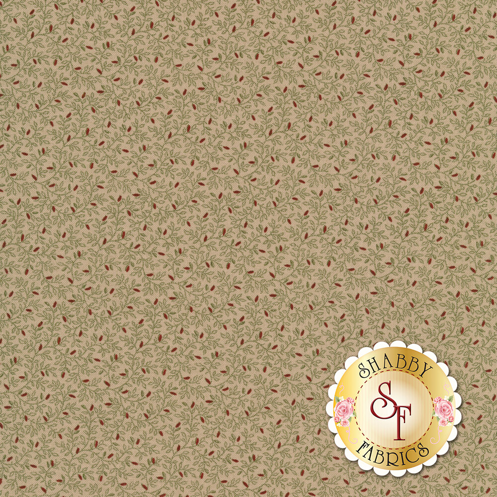 Beautiful vines all over with red sprouting flower buds on a tan background | Shabby Fabrics