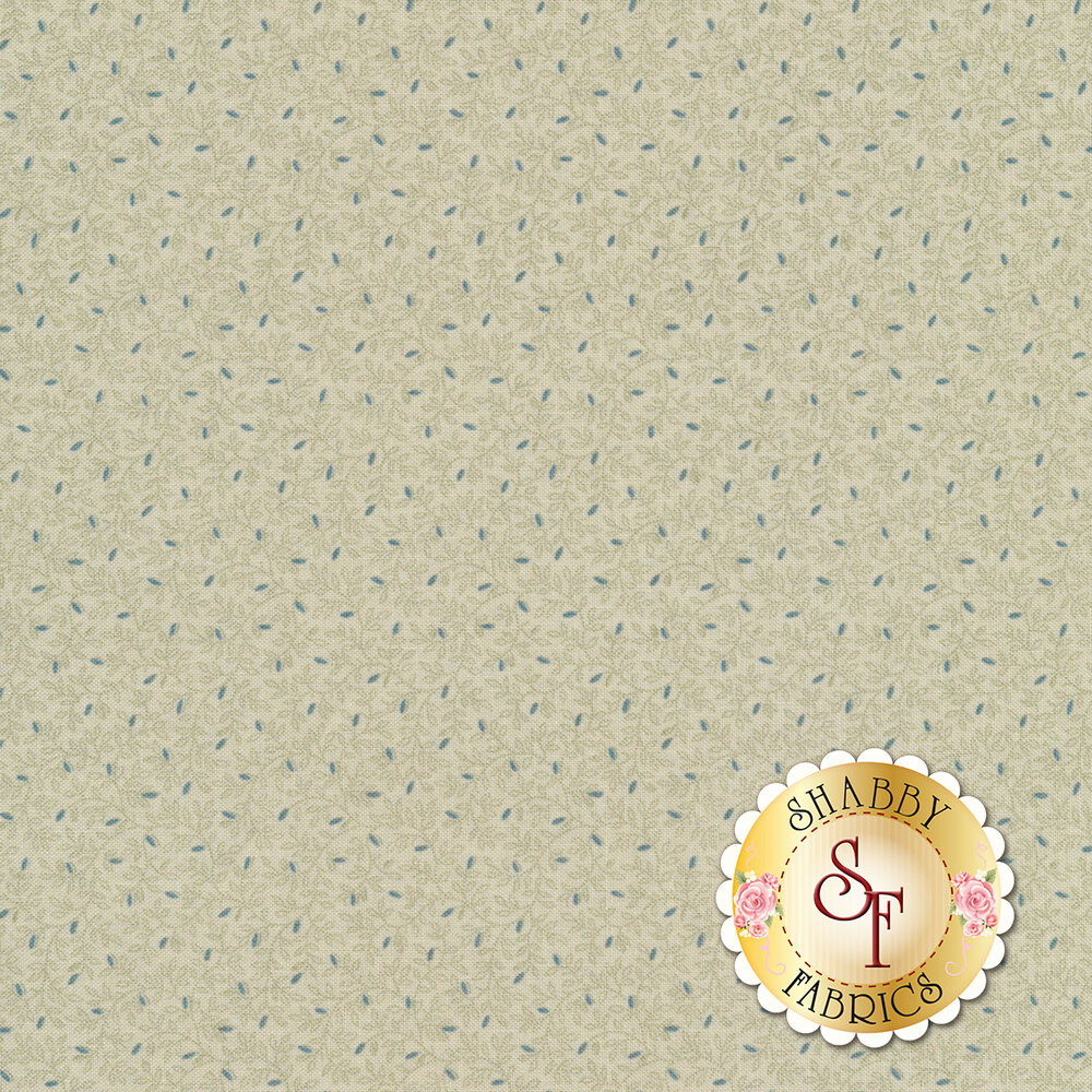Beautiful vines all over with teal sprouting flower buds on a cream background | Shabby Fabrics
