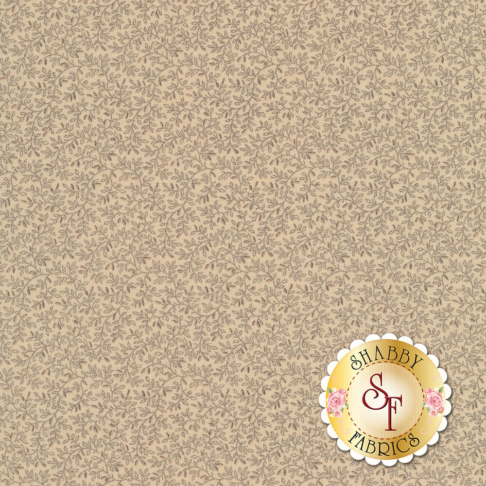 Beautiful vines all over with pink sprouting flower buds on a cream background | Shabby Fabrics