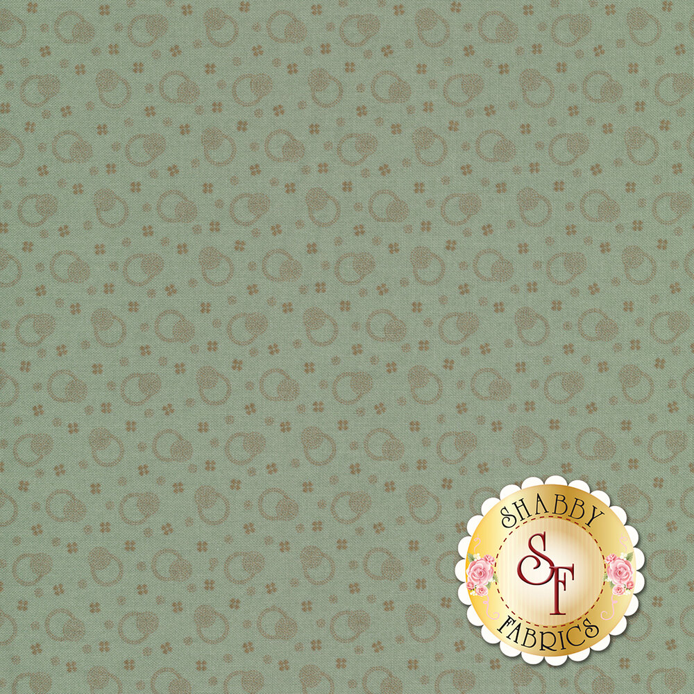 Tossed rings with dots and crosses on a teal background | Shabby Fabrics