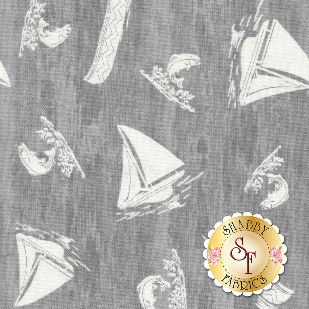 Beautiful distressed grey fabric with white sailboats and fish | Shabby Fabrics