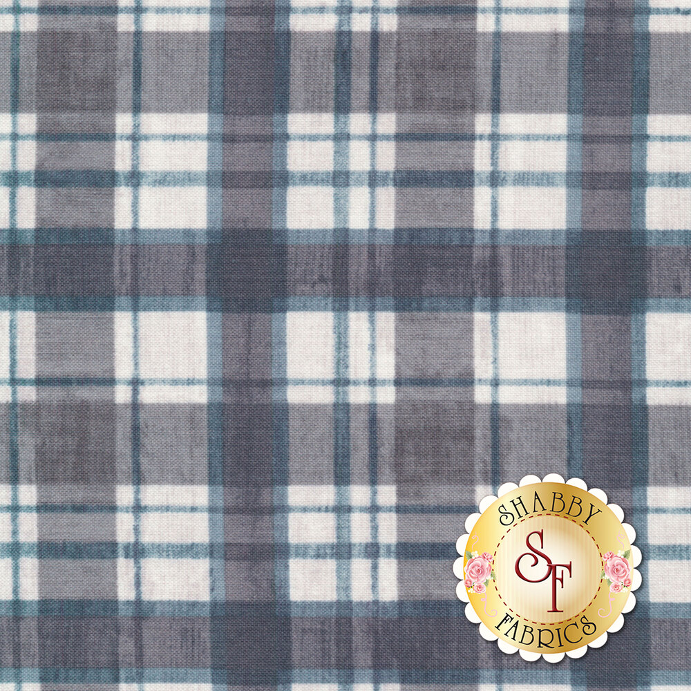Grey and white flannel texture with blue highlights | Shabby Fabrics