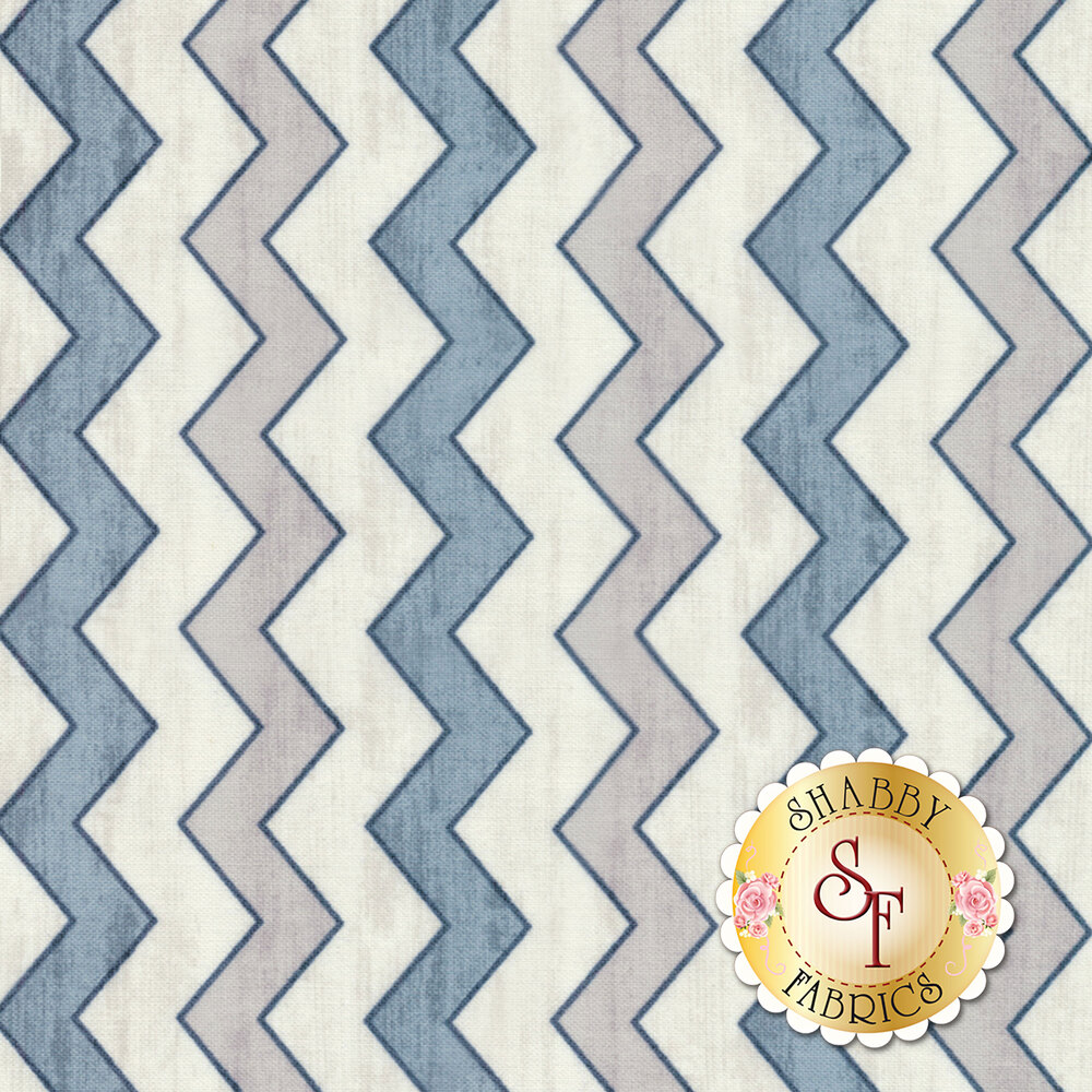 white, blue, and grey zig zag stripes with black borders | Shabby Fabrics