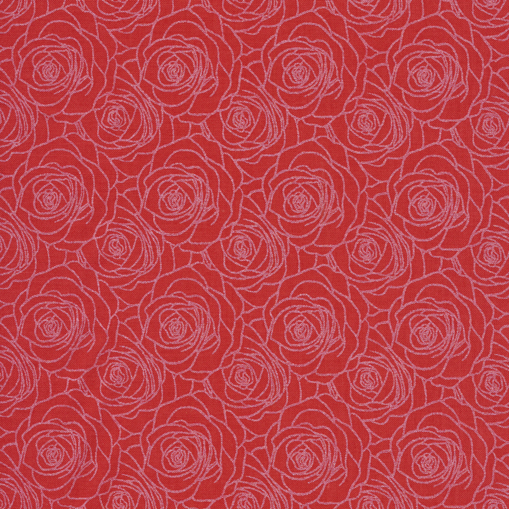 Red outlined roses on pink | Shabby Fabrics