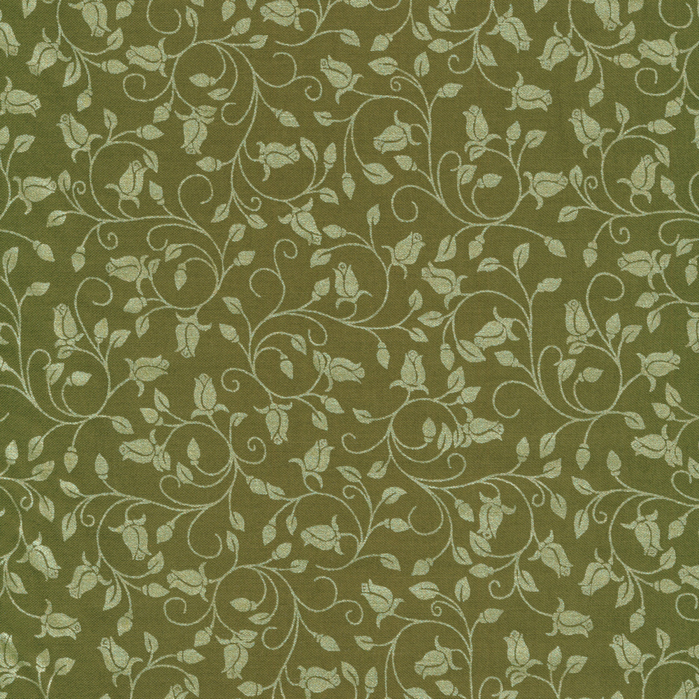 Silver rosebuds, leaves, and vines on green | Shabby Fabrics